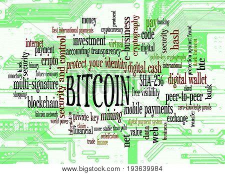 Bitcoin word cloud over circuit board macro