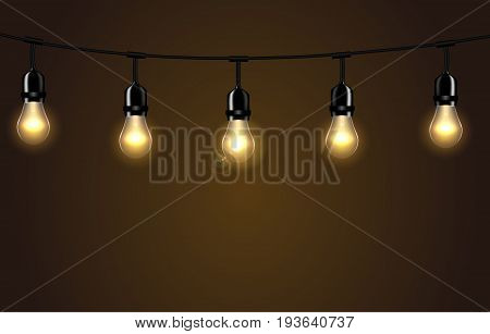 Lights isolated realistic design elements. Glowing lights for greeting card design. Decoration isolated realistic luminous garland. Decorative antique retro edison bulbs. Vector illustration. EPS 10