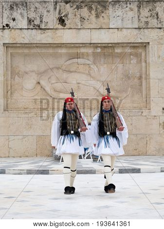ATHENS,GREECE-MAR 21:The Evzones - elite unit of the Greek Army that guards the Greek Tomb of the Unknown Soldier during the celebrations for the Independence Day,March 21,2017 in Athens,Greece