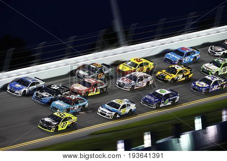 July 01, 2017 - Daytona Beach, FL, USA: Paul Menard (27) leads the pack during the Coke Zero 400 at Daytona International Speedway in Daytona Beach, FL.