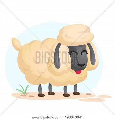 Cute cartoon sheep. Farm animal vector illustration isolated on simple background
