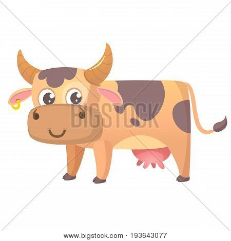 Vector illustration of cartoon cow smiling. Farm animal isolated on white