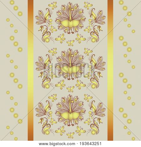 Floral ornament with peacock and butterflies.Pattern. Design for textiles, tapestries. gift packaging.