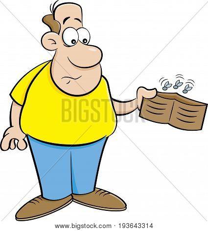 Cartoon illustration of a man holding an empty wallet.