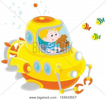Toy deep-sea bathyscaphe piloting by a little boy with his pup