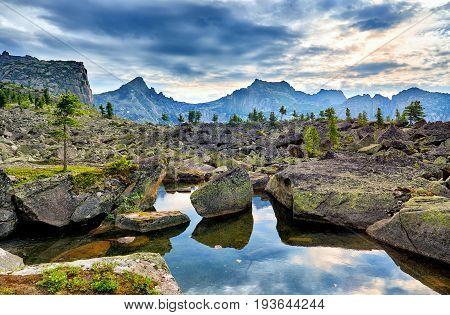 Small Lake Among Glacial Moraines