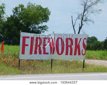 Fireworks signs like this abound this time of year. The difference in this one is that it sits near the Dallas and Rockwall county lines. Sales in Dallas County are frowned upon.