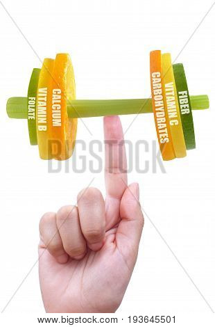 Fruit and vegetable dumbbell balanced on a finger with nutritional facts