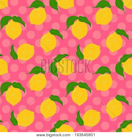 Seamless floral pattern with lemon fruit on a polka dot background.