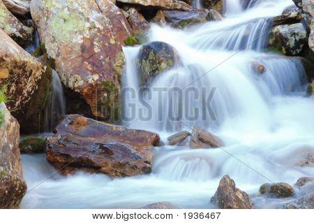 Little brook mountain waterfall in summer season poster
