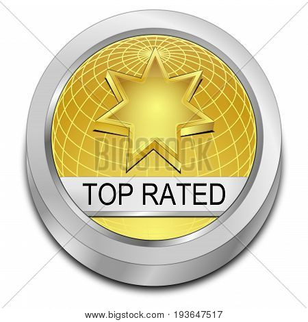 golden Top Rated Button - 3D illustration