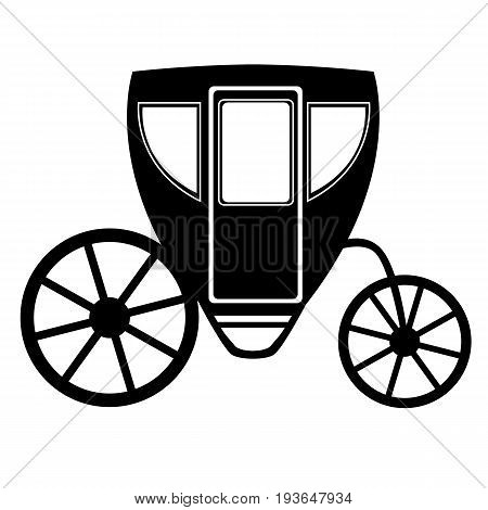 Wedding carriage. Decorative brougham. Coach. Vintage carriage isolated on white background. Also suitable for invitation card. Vector illustration.