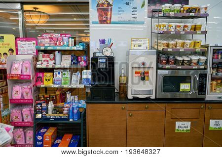SEOUL, SOUTH KOREA - CIRCA MAY, 2017: inside a CU convenience store. CU is a convenience store franchise chain in South Korea.