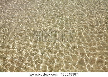 Shallow Water With Sun Reflections, Natural Background Or Wallpaper