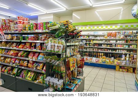 SEOUL, SOUTH KOREA - CIRCA JUNE, 2017: goods on display at a CU convenience store. CU is a convenience store franchise chain in South Korea.