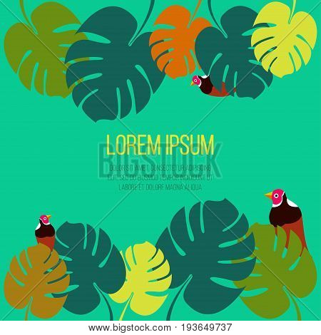 Poster template with colorful tropical palm leaves on green background with tropical birds and space for text Trendy postcard template, text place, copy space
