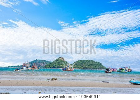 sea landscape moutain and fishing boat long tail
