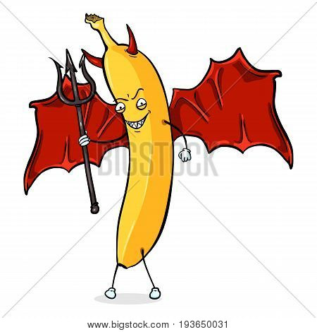Vector Cartoon Character - Devil Banana with a Trident, Wings and Horns.