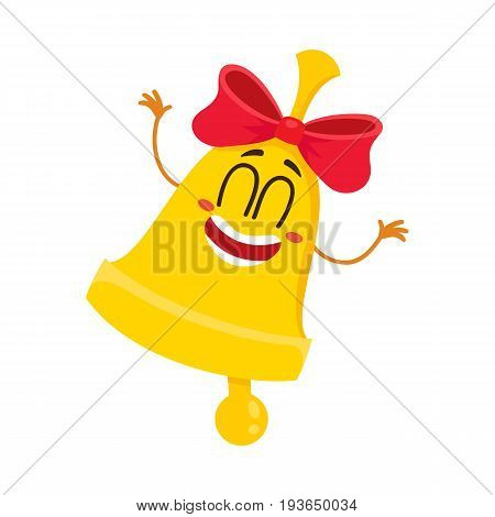 Cute and funny golden school bell character with red ribbon and smiling human face, cartoon vector illustration isolated on white background. Smiling golden bell with red ribbon character, mascot