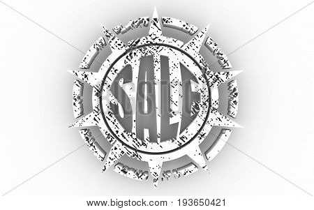 Stamp icon. Graphic design elements. 3D rendering. Sale text