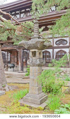 DAISEN JAPAN - MAY 26 2017: Traditional stone lantern (toro) near the main hall of Naganobeyama Daisen Temple in Daisen Akita Prefecture Japan