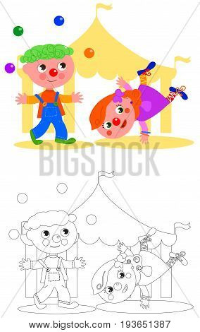 Children clown jugging and circus tent vector coloring illustration