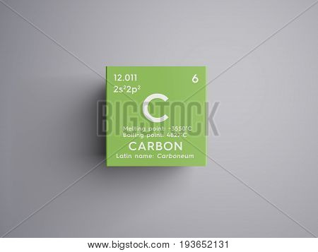Carbon. Other Nonmetals. Chemical Element of Mendeleev's Periodic Table. Carbon in square cube creative concept.