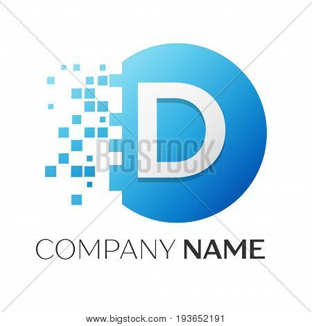 Realistic letter D vector logo symbol in the colorful circle with shattered blocks on white background. Vector template for your design