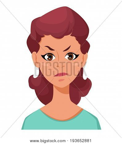 Face expression of a woman - dissatisfied angry. Female emotions. Attractive cartoon character. Vector illustration isolated on white background.