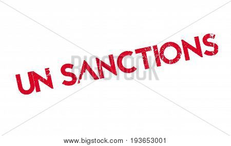 Un Sanctions rubber stamp. Grunge design with dust scratches. Effects can be easily removed for a clean, crisp look. Color is easily changed.