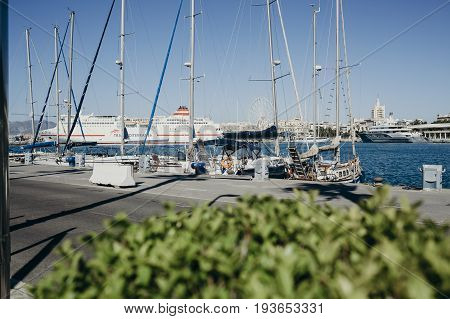 MALAGA, SPAIN - June, 29, 2017: Boats docked at the port of Malaga, Spain.