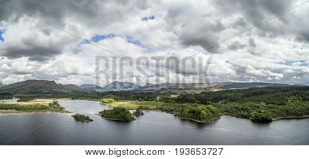 Aerial view of the ruins of historic Kilchurn Castle and Loch Awe, Argyl, Scotland