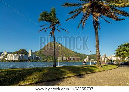 RIO DE JANEIRO, BRAZIL - CIRCA JAN 2014: Lagoa Rodrigos de Freitas in Rio de Janeiro, Brazil