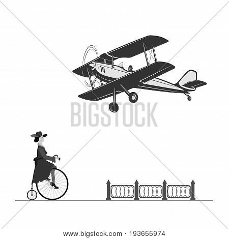 The beautiful technique of our ancestors A vintage airplane and a girl on an old bicycle.