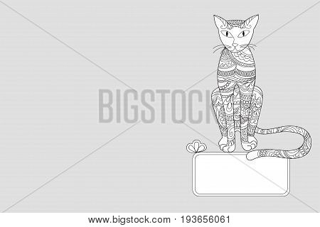 Creative cover design with hand drawn patterned cat for decorate book notebook sketchbook copybook case stationery. Cover A5 template with back. EPS 10.