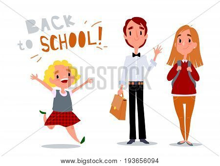 Welcome to school. Happy children and teenagers. A little cute little girl runs and laughs. Students with school bags. Isolated vector illustration with text on white