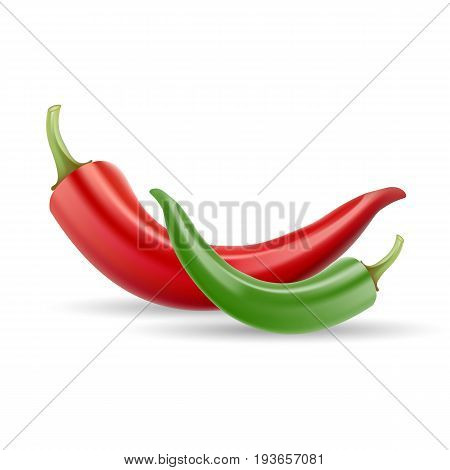 Red Chilli Pepper. Healthy Organic Food Isolated On A White Background. Realistic Vector Illustration.