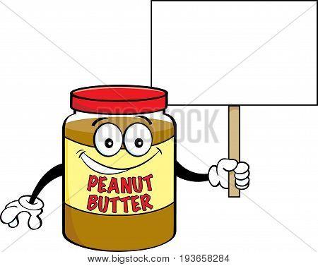 Cartoon illustration of a jar of peanut butter holding a sign.