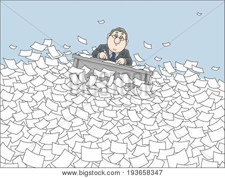 Clerk drifting with his desk among waves in sea of paper