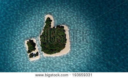 Success way. Tropical island in the form of the thumb up. 3D Illustration