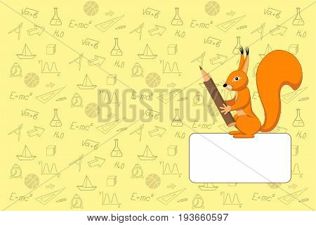 Cover design with hand drawn squirrel pencil education icons and symbols for tutorial cover notebook sketchbook album copybook. Cover A5 template with back and empty space. EPS 10.