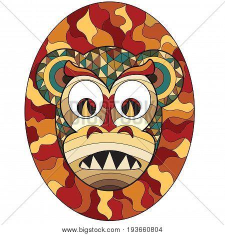 Mask of evil monkey in ethnic style