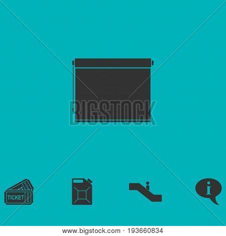 Projector roller screen icon flat. Simple vector symbol and bonus icon