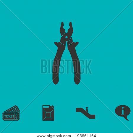 Pliers icon flat. Simple vector symbol and bonus icon