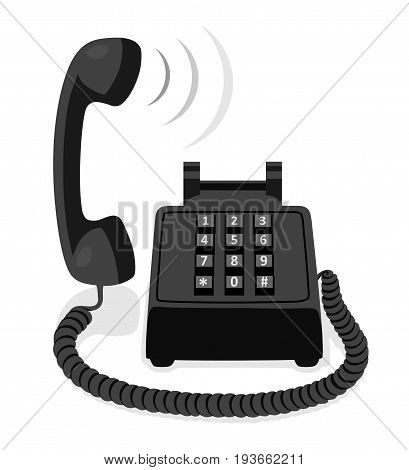 Black stationary phone with button keypad and raised handset. Vector illustration.