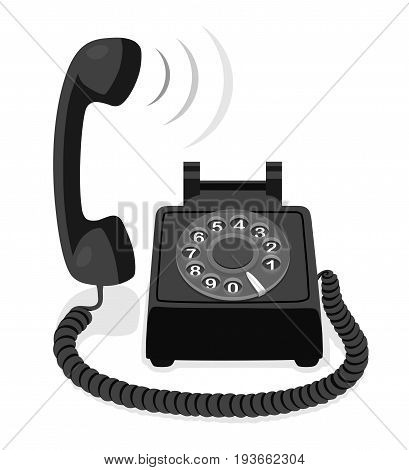 Black stationary phone with rotary dial and raised handset. Vector illustration.