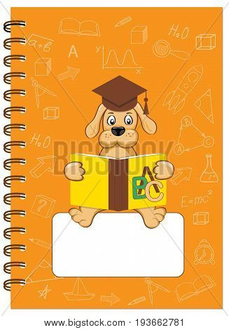 Cover design with reading puppy and hand drawn education icons and symbols for tutorial cover notebook sketchbook album copybook. Cover A5 template and empty space. EPS 10.