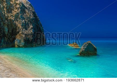 Rock formations in Lefkada Egremni beach Greece.