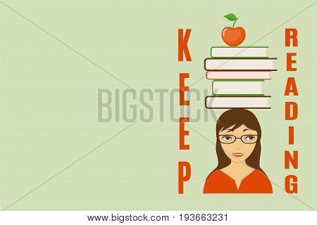 Cover design with text Keep reading girl and books on her head for cover of tutorial book notebook copybook. Cover A5 template with back. EPS 10.