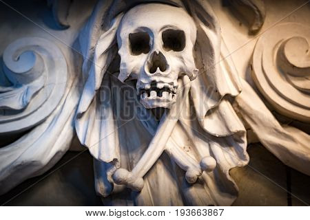 Human skull and bones as decoration of church interior in Sweden Scandinavia Europe
